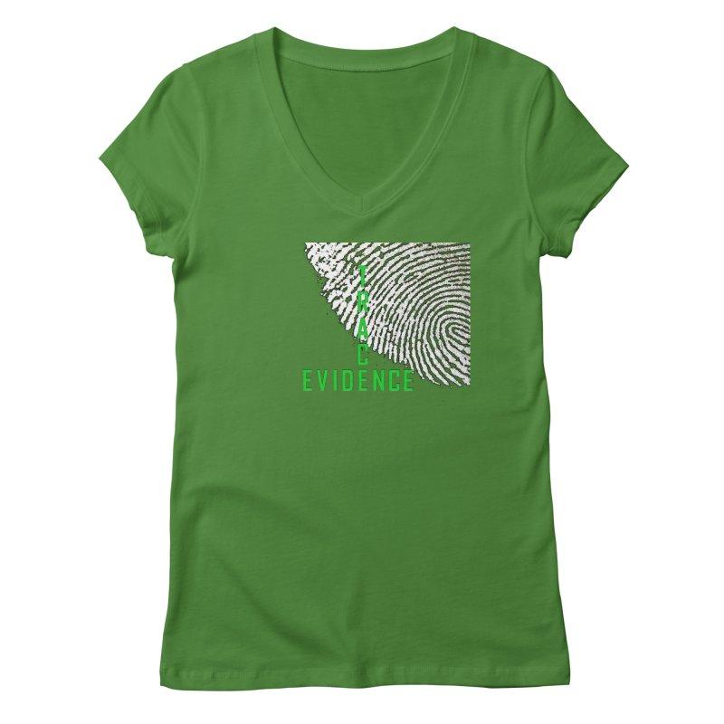 Text Logo - Green Women's Regular V-Neck by Trace Evidence - A True Crime Podcast