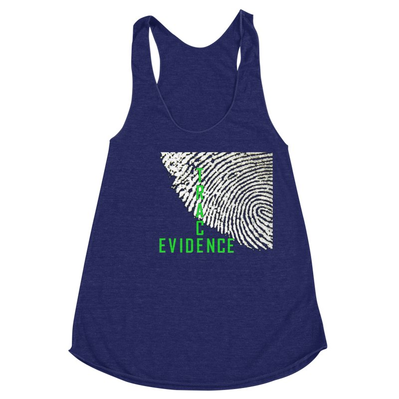 Text Logo - Green Women's Racerback Triblend Tank by Trace Evidence - A True Crime Podcast