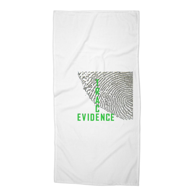 Text Logo - Green Accessories Beach Towel by Trace Evidence - A True Crime Podcast