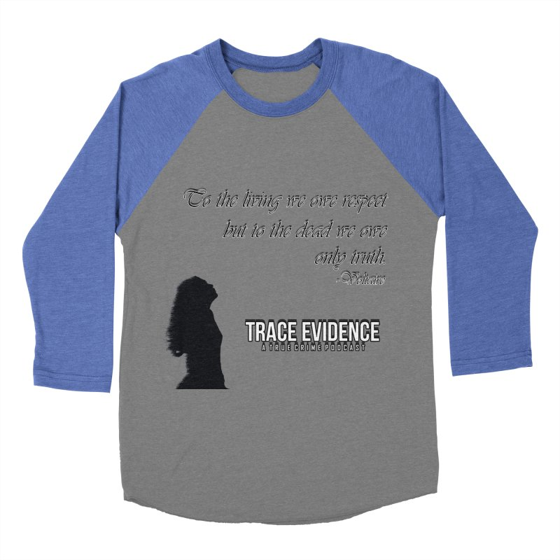 Voltaire Silhouette Men's Baseball Triblend Longsleeve T-Shirt by Trace Evidence - A True Crime Podcast