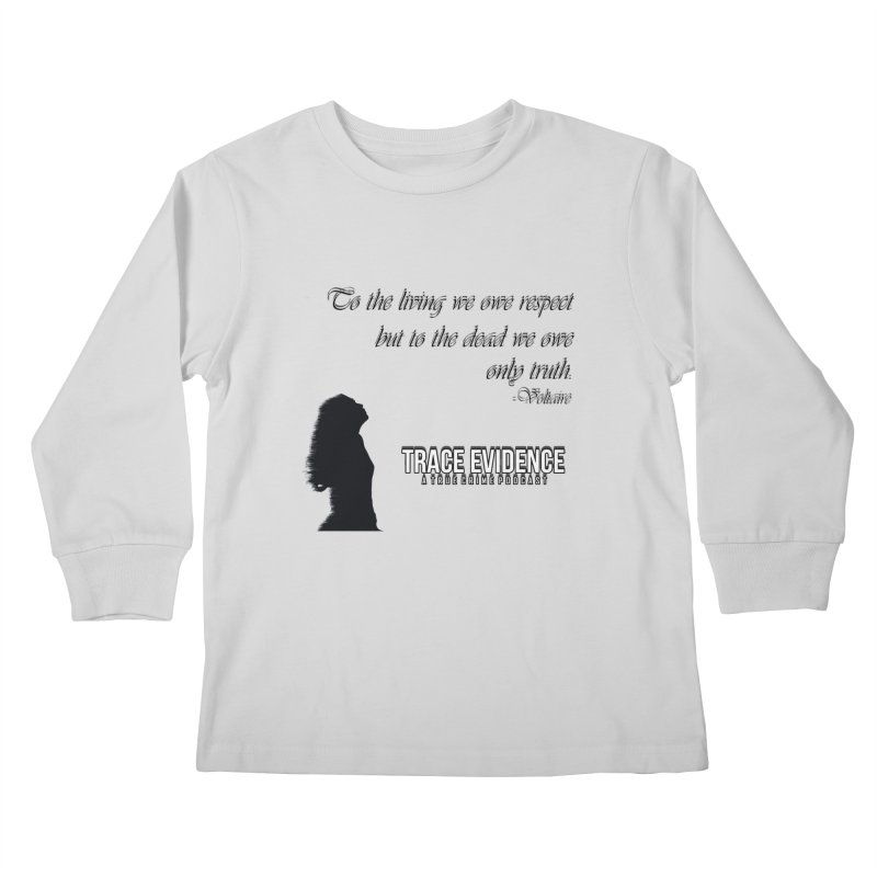 Voltaire Silhouette Kids Longsleeve T-Shirt by Trace Evidence - A True Crime Podcast