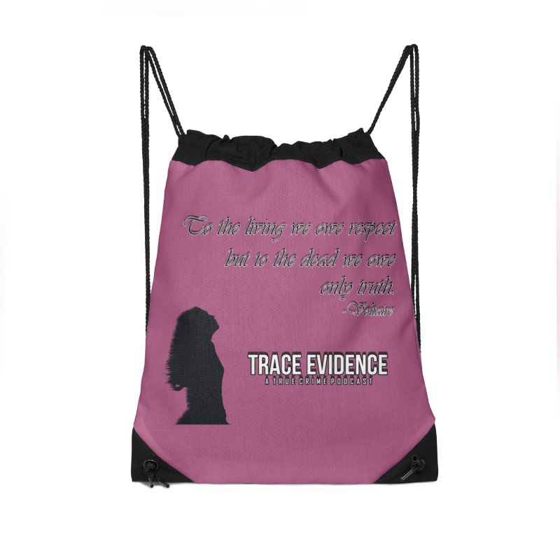 Voltaire Silhouette Accessories Drawstring Bag Bag by Trace Evidence - A True Crime Podcast