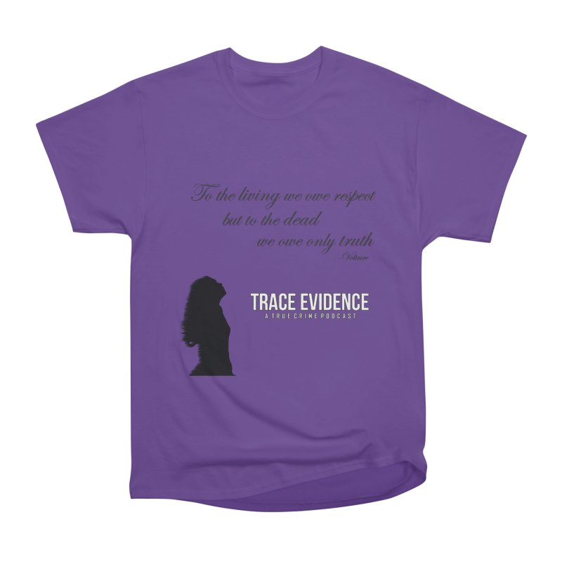 Voltaire Silhouette Women's Heavyweight Unisex T-Shirt by Trace Evidence - A True Crime Podcast