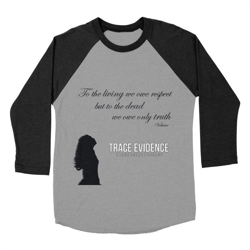 Voltaire Silhouette Women's Baseball Triblend Longsleeve T-Shirt by Trace Evidence - A True Crime Podcast