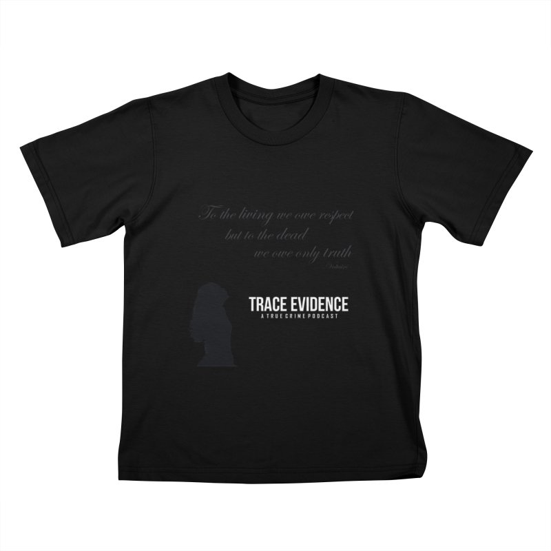 Voltaire Silhouette Kids T-Shirt by Trace Evidence - A True Crime Podcast