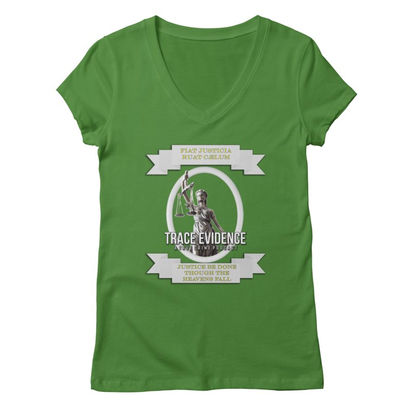 Justice Women's Regular V-Neck by Trace Evidence - A True Crime Podcast