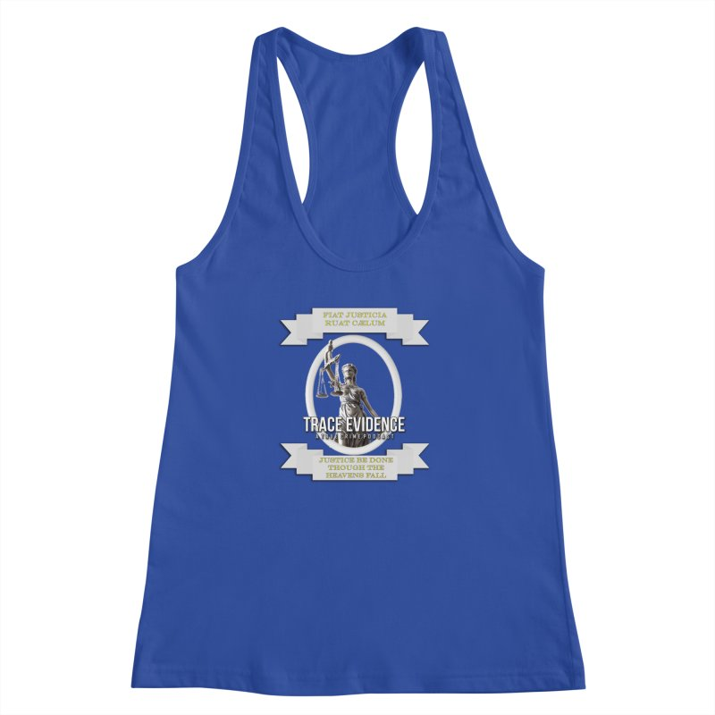 Justice Women's Racerback Tank by Trace Evidence - A True Crime Podcast