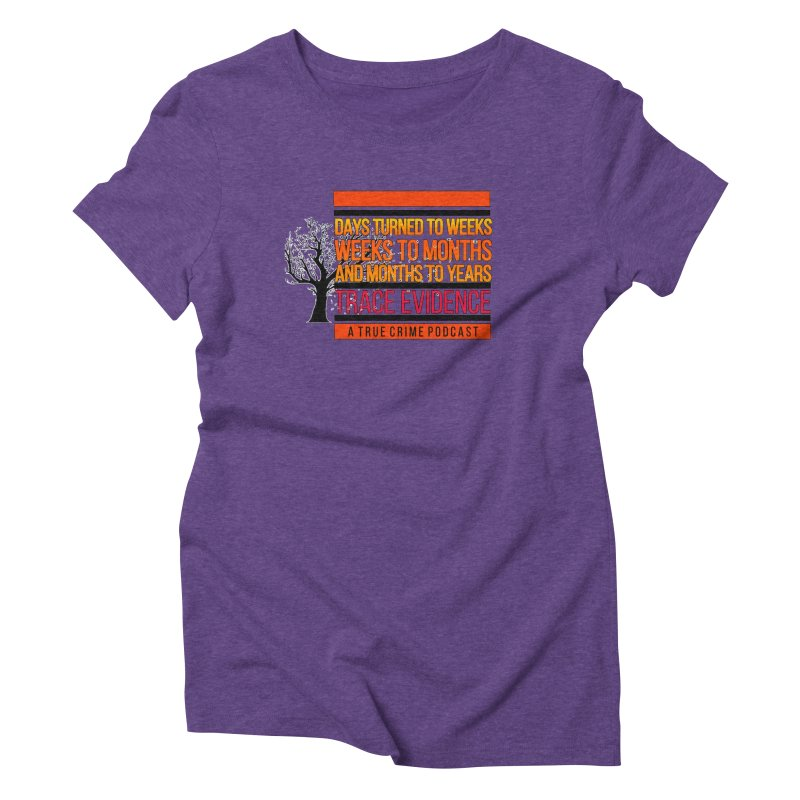 Days to Weeks Women's Triblend T-Shirt by Trace Evidence - A True Crime Podcast