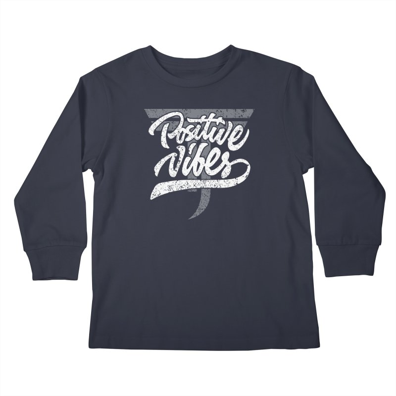 Vintage Positive Vibes (White) Kids Longsleeve T-Shirt by Official Track Junkee Merchandise
