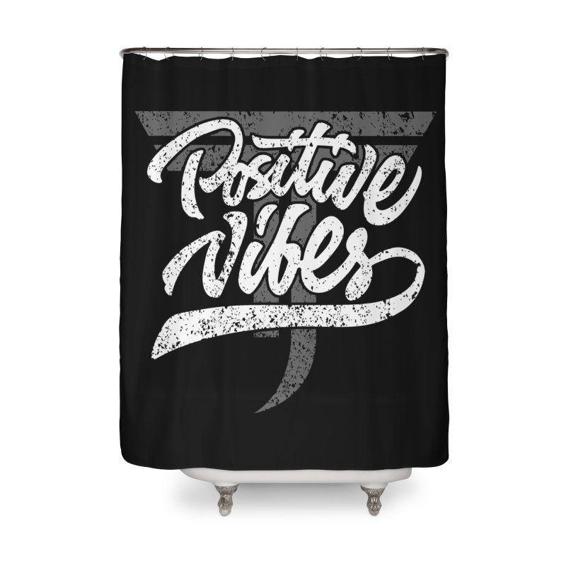 Vintage Positive Vibes (White) Home Shower Curtain by Official Track Junkee Merchandise