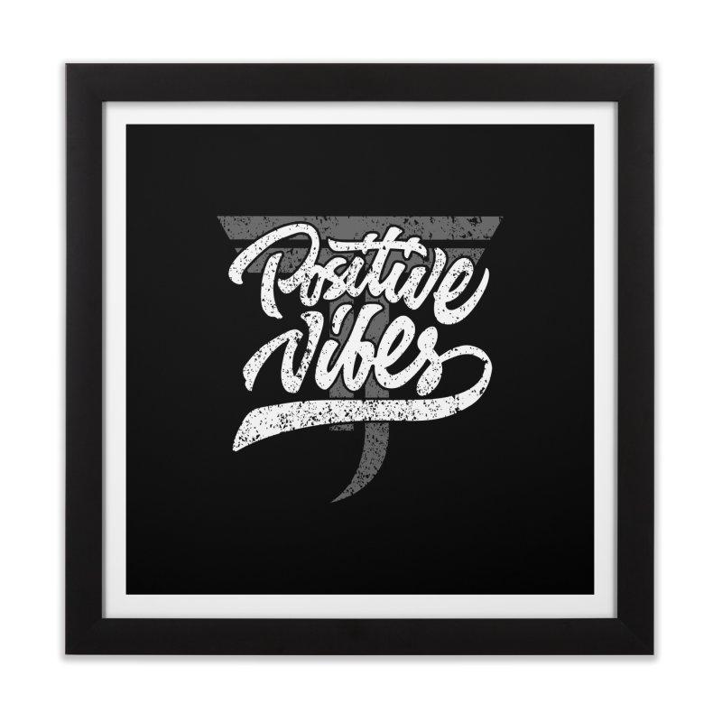 Vintage Positive Vibes (White) Home Framed Fine Art Print by Official Track Junkee Merchandise