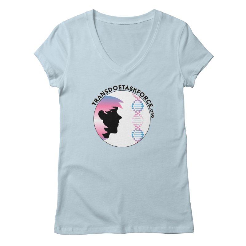 Trans Doe Task Force emblem in Women's Regular V-Neck Baby Blue by Trans Doe Task Force
