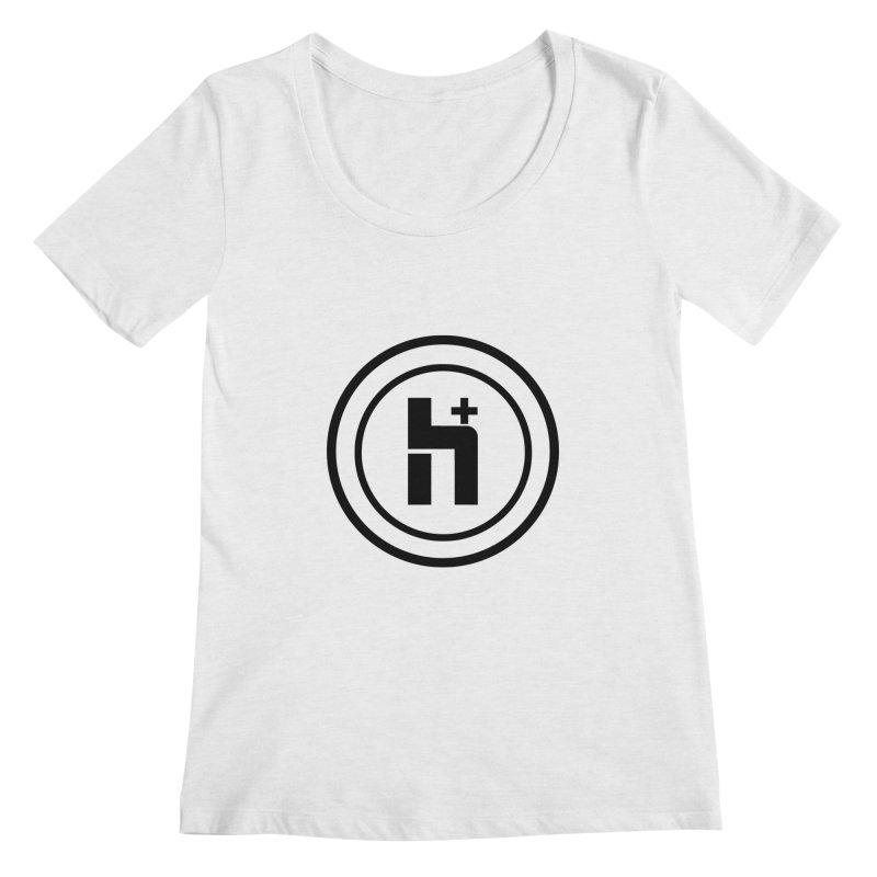 H Plus Circle 1 Women's Scoopneck by Transhuman Shop