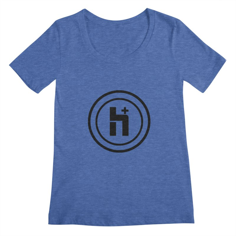 H Plus Circle 1 Women's Scoopneck by Transhuman Shop