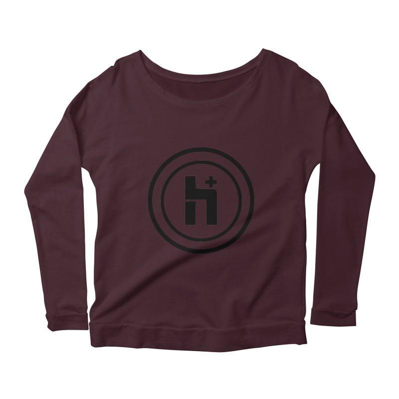 H Plus Circle 1 Women's Longsleeve Scoopneck  by Transhuman Shop