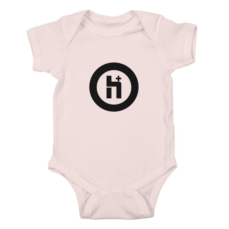 H Plus circle 2 Kids Baby Bodysuit by Transhuman Shop