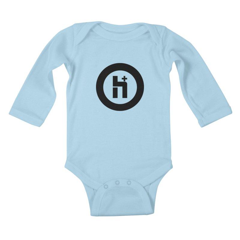 H Plus circle 2 Kids Baby Longsleeve Bodysuit by Transhuman Shop