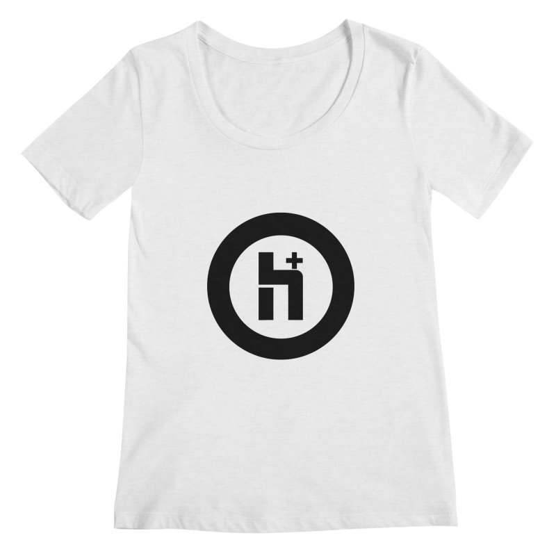 H Plus circle 2 Women's Scoopneck by Transhuman Shop