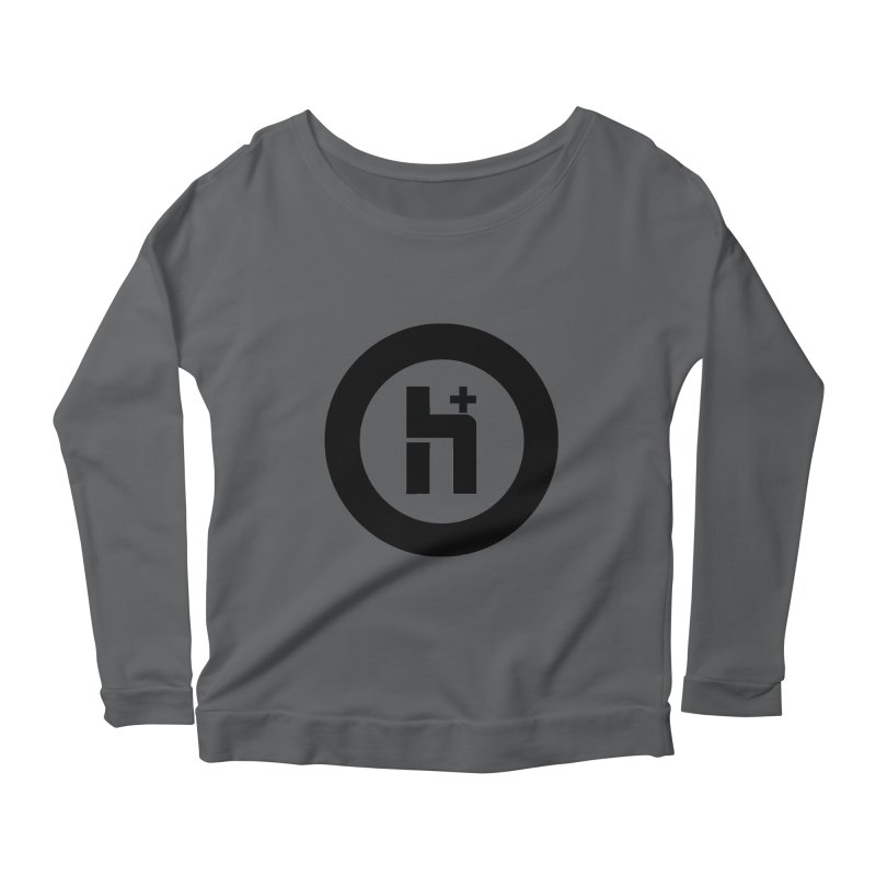H Plus circle 2 Women's Longsleeve Scoopneck  by Transhuman Shop