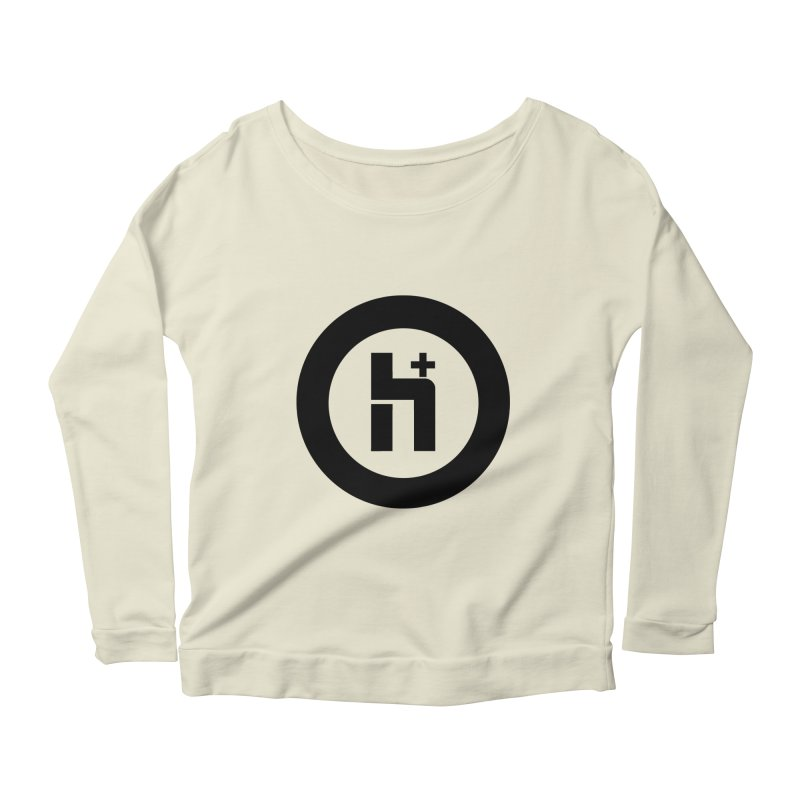 H Plus circle 2 Women's Longsleeve Scoopneck  by Transhuman Shop