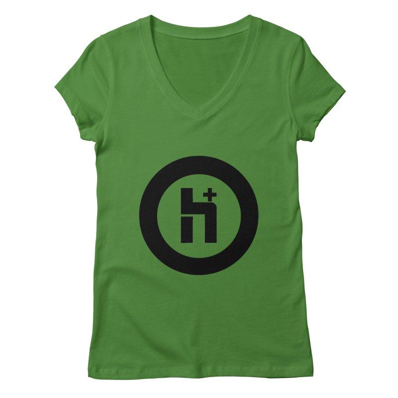 H Plus circle 2 Women's V-Neck by Transhuman Shop