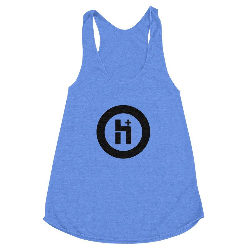 H Plus circle 2 Women's Racerback Triblend Tank by Transhuman Shop