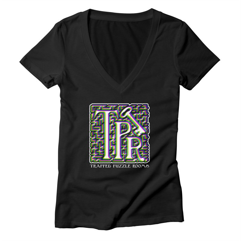 TPR Color Split Women's V-Neck by Trapped Puzzle Rooms