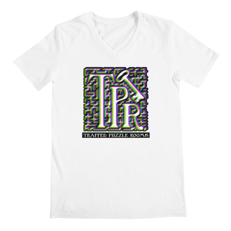 TPR Color Split on light Men's V-Neck by Trapped Puzzle Rooms