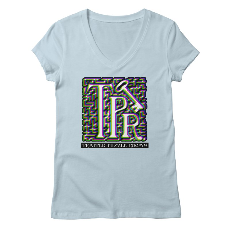 TPR Color Split on light Women's V-Neck by Trapped Puzzle Rooms