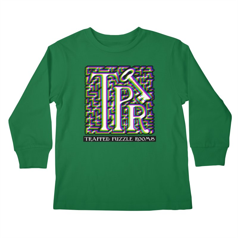 TPR Color Split on light Kids Longsleeve T-Shirt by Trapped Puzzle Rooms