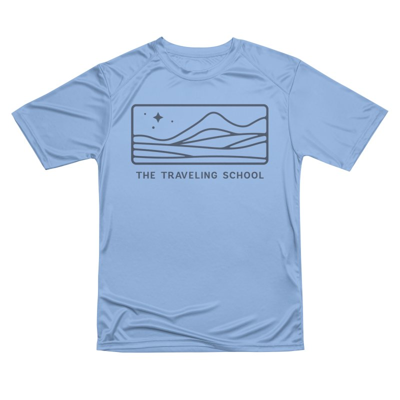TTS Horizontal Logo in Men's Performance T-Shirt Bimini Blue by The Traveling School Apparel Shop