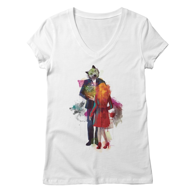 Red Riding, I Am Not Your Wolf Women's V-Neck by Travis Clarke's Artist Shop