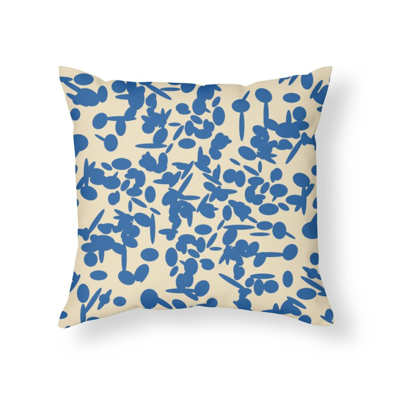 Koraljni (Blue/Almond) Home Throw Pillow by trebam