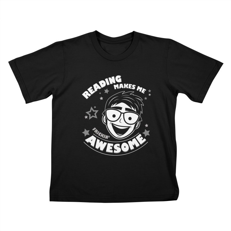 Reading Makes Me Frickin' Awesome Kids T-Shirt by Treemanjake