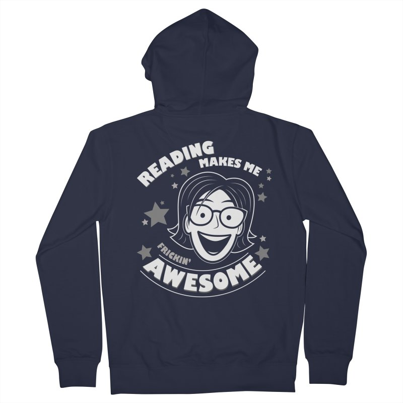 Frickin' Awesome Reading Nerd Men's French Terry Zip-Up Hoody by Treemanjake