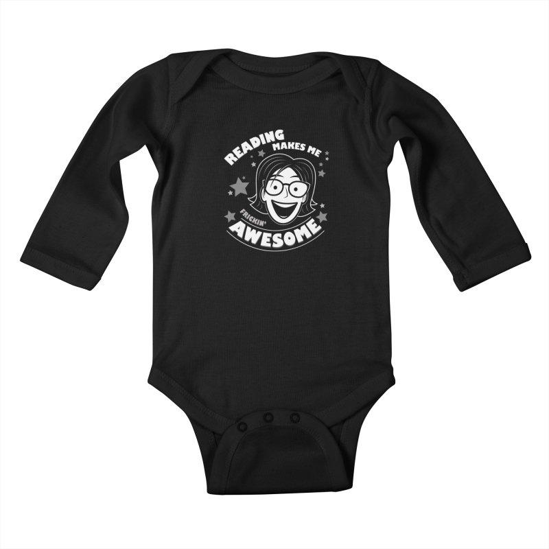 Frickin' Awesome Reading Nerd Kids Baby Longsleeve Bodysuit by Treemanjake