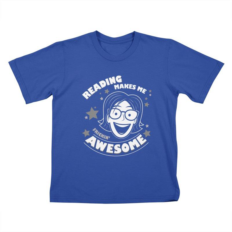 Frickin' Awesome Reading Nerd Kids T-Shirt by Treemanjake