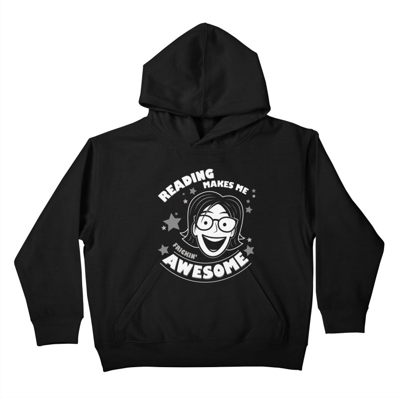 Frickin' Awesome Reading Nerd Kids Pullover Hoody by Treemanjake