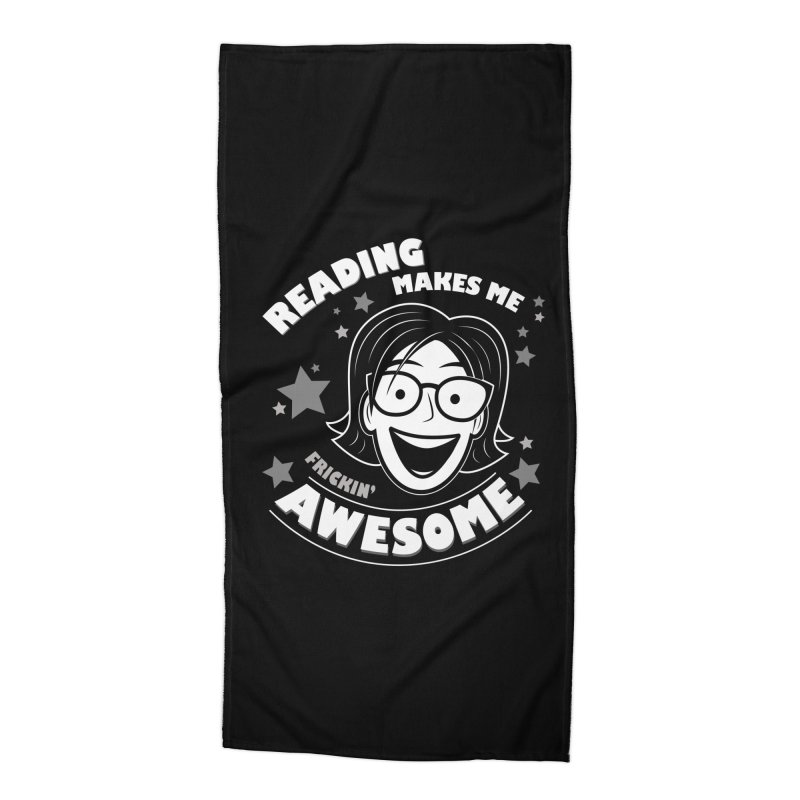 Frickin' Awesome Reading Nerd Accessories Beach Towel by Treemanjake