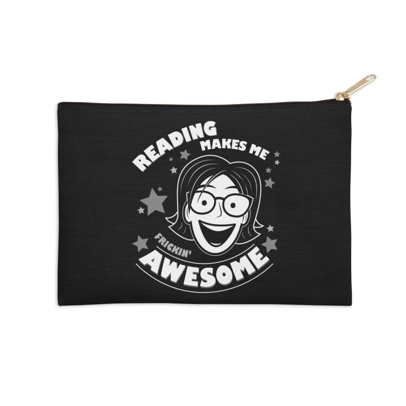 Frickin' Awesome Reading Nerd Accessories Zip Pouch by Treemanjake