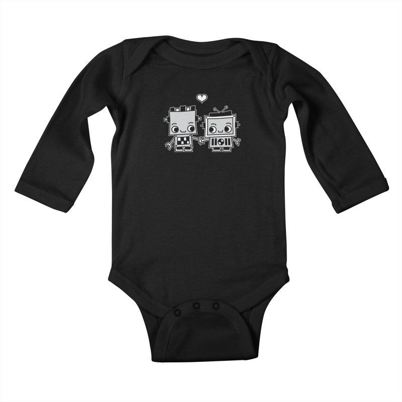 Robot Love Kids Baby Longsleeve Bodysuit by Treemanjake
