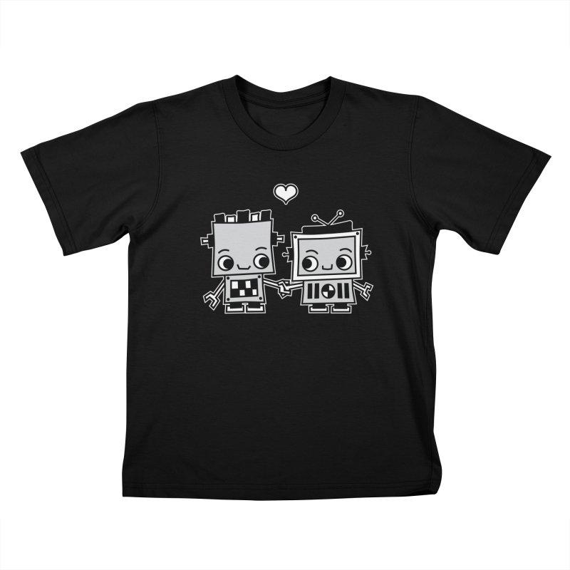 Robot Love Kids T-Shirt by Treemanjake