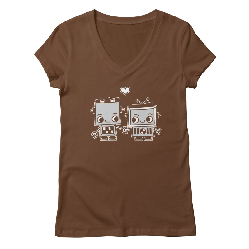 Robot Love Women's Regular V-Neck by Treemanjake