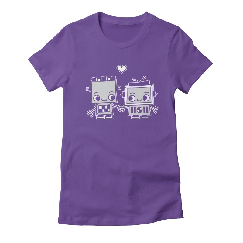 Robot Love Women's Fitted T-Shirt by Treemanjake