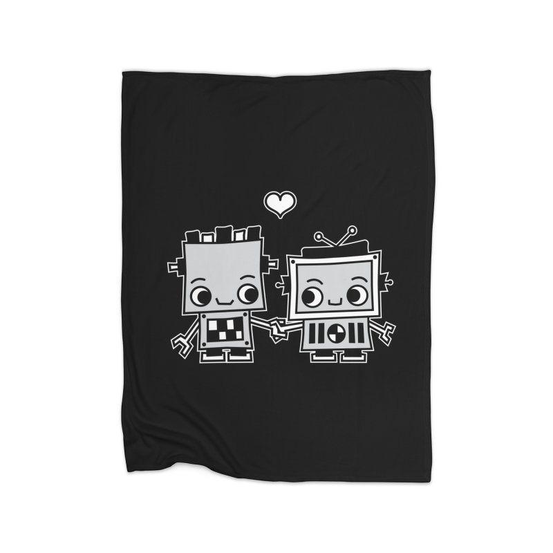 Robot Love Home Fleece Blanket Blanket by Treemanjake