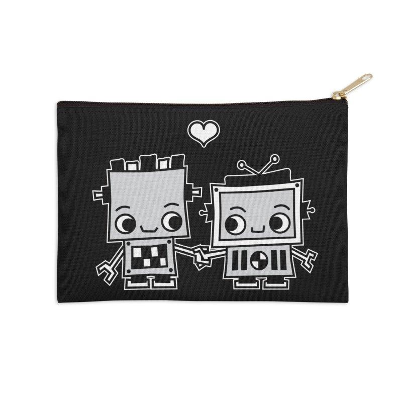 Robot Love Accessories Zip Pouch by Treemanjake