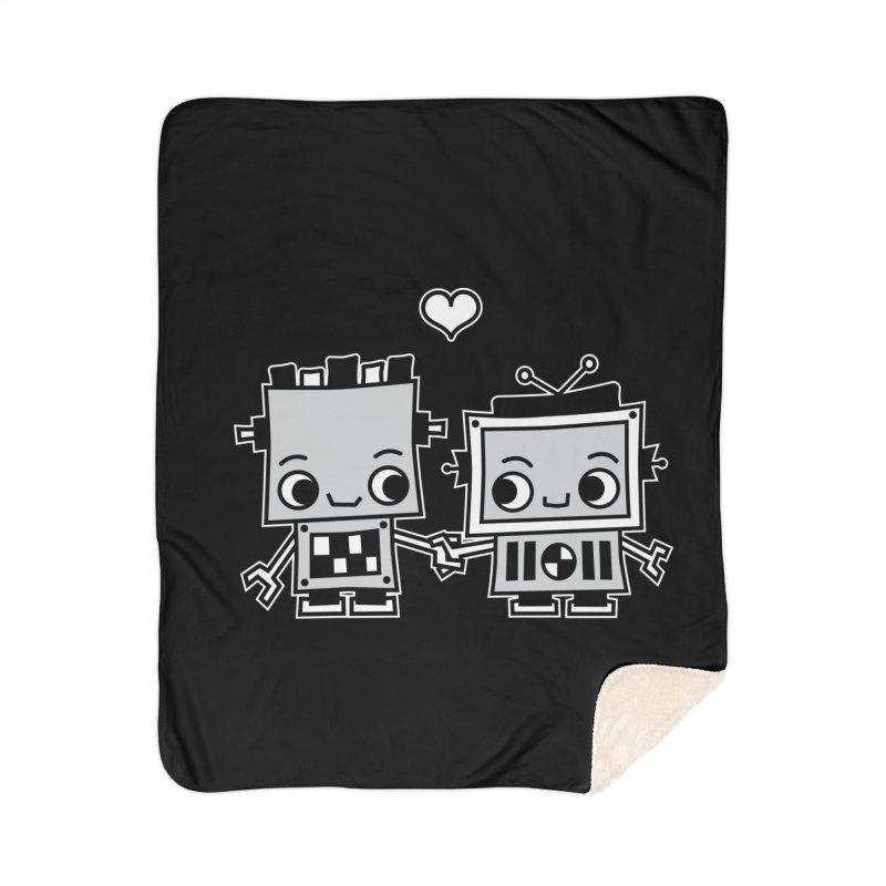 Robot Love Home Sherpa Blanket Blanket by Treemanjake