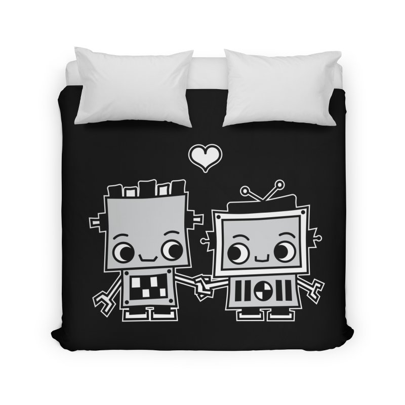 Robot Love Home Duvet by Treemanjake