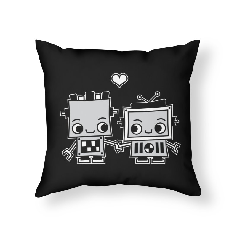 Robot Love Home Throw Pillow by Treemanjake