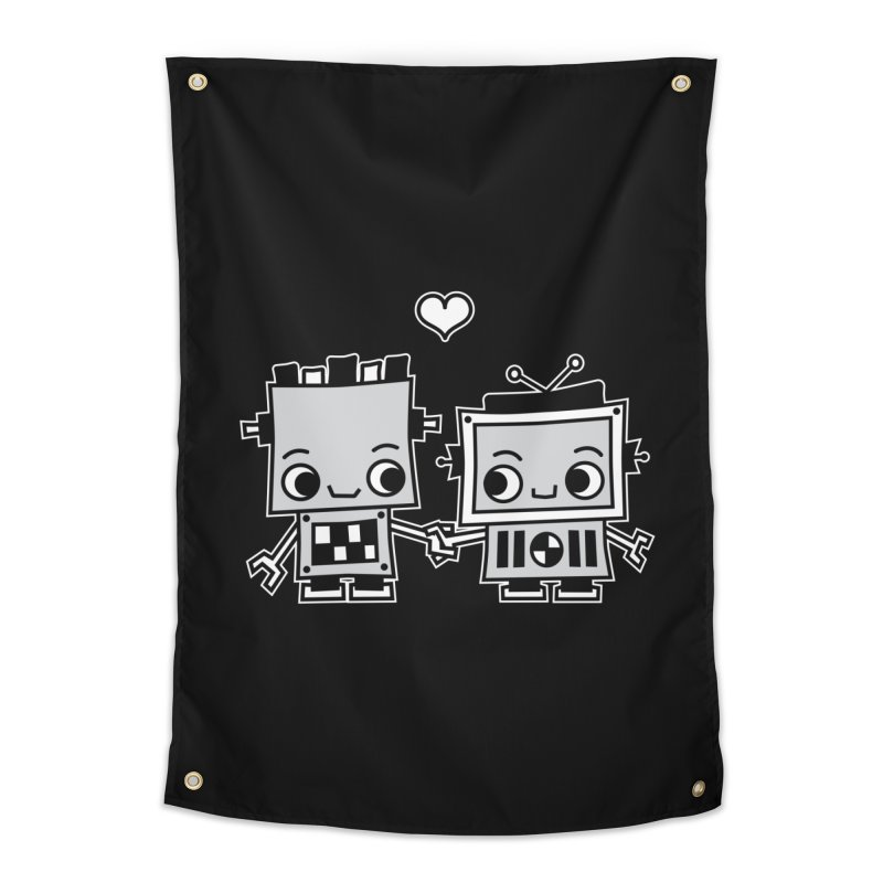 Robot Love Home Tapestry by Treemanjake